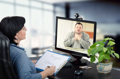 Online psychiatrist relieves stress Stock Image