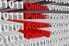 Online public access catalog. In the form of binary code, 3D illustration Royalty Free Stock Photo