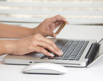 Online purchase with a credit card Stock Photo