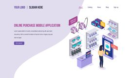 Online purchase mobile application. Digital marketing, buying in online store. vector illustration