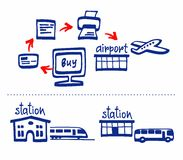 Online purchase of tickets, plane, train, bus, diagram, white background. Stock Photo