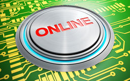 Online push button. On circuit board background Stock Photo