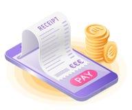 Online rachunek zapłata z mądrze telefonem Płaski wektorowy isometric ilustracji
