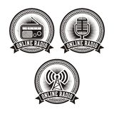 Online radio badges Stock Photos