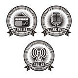 Online radio badges vector illustration