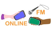 Online radio concept. Idea of global outreach. Female and male hands with smartphones pointed at the microphone stock illustration