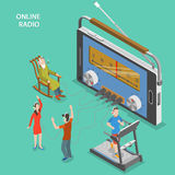 Online radio isometric flat vector concept. Stock Photography