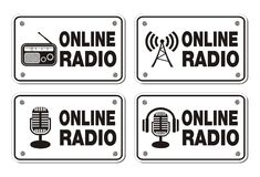 Online radio rectangle signs Stock Photos