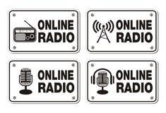 Online radio rectangle signs vector illustration