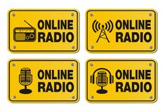 Online radio - rectangle yellow signs Stock Image