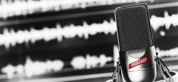 Online radio studio. condenser microphone. Close up. Digital recording, editing, broadcasting or podcasting concept stock image