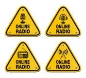 Online radio triangle signs stock illustration