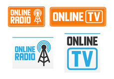 Online radio and tv signs Stock Photo