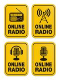 Online radio yellow signs Royalty Free Stock Images