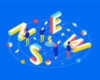 Online reading or creating news concept. News 3d word lettering typography with isometric copyrighters working on laptop. Flat 3d isometric style. Isometric Stock Photography