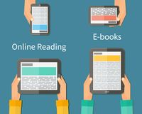 Online reading and E-book. Mobile devices Stock Images