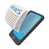 Online reading news using smartphone cartoon icon Stock Images