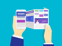 Online reading news. Vector illustration of  using smartphone Stock Photography