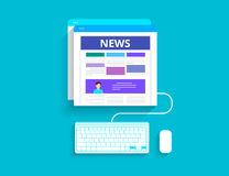 Online reading news. Vector illustration of  using smartphone Stock Images