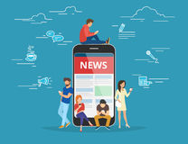 Online reading news Stock Photos