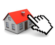 Online real estate buy. 3d illustration of house and cursor, online real estate trading concept Stock Photography