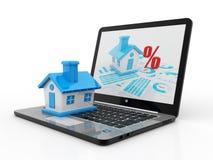 Online Real estate Concept, 3D Render. Online Real estate Concept, Computer with House in white background. 3D Render Vector Illustration