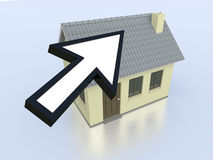 Online real estate. One house with an arrow cursor, concept of real estate on the web (3d render Stock Photography