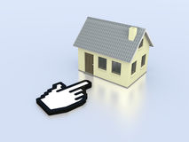 Online real estate. One house with a hand cursor, concept of real estate on the web (3d render Royalty Free Stock Photos