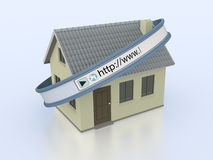 Online real estate. One house with a web address bar, concept of real estate on the web (3d render Royalty Free Stock Images