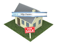 Online real estate. One house with a web address bar and a signboard with text: for sale, concept of real estate on the web (3d render Stock Photography