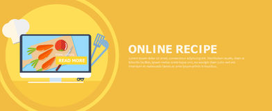 Online recipe banner. Computer with a board and vegetables on the screen. Button read more. Stock Photo