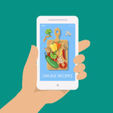 Online recipe vector on mobile phone in flat style Stock Images