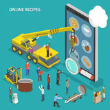 Online recipes flat isometric vector concept. Royalty Free Stock Photo