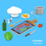 Online recipes flat isometric vector concept. Royalty Free Stock Images