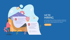 online recruitment or Job hiring concept with tiny people character. select a resume process. agency interview. template for web stock illustration
