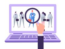 Online recruitment management characters, job candidate. Human resources searching for individuality Hand with magnifier royalty free illustration