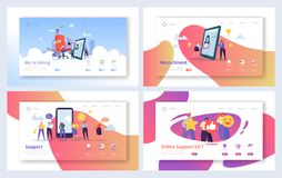Online Recruitment Support Landing Page Set. Human Resources Employment Business. Agency Candidate Vacancy. Online Recruitment Support Landing Page Set. Human stock illustration