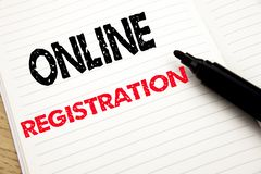 Online Registration. Business concept for Internet Login written on notebook with copy space on book background with marker pen. Online Registration. Business stock photos