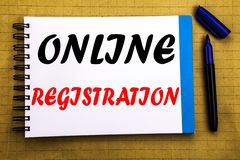 Online Registration. Business concept for Internet Login Written on notepad note paper background with space office view with penc. Online Registration. Business stock photography