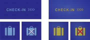 Online Check-in service pictograms. Online registration, Check-in sign and baggage options pictograms, realistic digital display screen effect, design elements Royalty Free Stock Photos