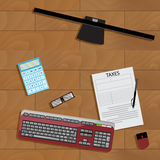 Online registration of tax form. Taxation financial paperwork, keyboard and computer. Vector illustration Stock Photos