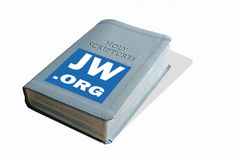 Online religious organisation. Photo of holy bible with online religious website address depicting web based religious organisations Royalty Free Stock Photos