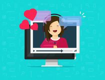 Online remote dating concept on computer video communication app vector illustration, flat cartoon distance relationship Royalty Free Stock Photos