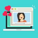 Online remote dating on laptop video communication app vector illustration, flat cartoon distance relationship internet Stock Photos