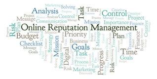 Online Reputation Management word cloud, made with text only. Online Reputation Management word cloud, made with text only stock illustration