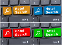 Online reservation with hotel search button Royalty Free Stock Photography