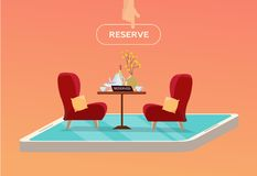Online reserved table in cafe. Concept Reserved in restaurant. Table on one leg with 2 soft comfortable red armchairs with dishes royalty free illustration
