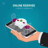 Online reserved table in restaurant.  Concept Reserved in cafe. Flat 3d isometric vector illustration. Stock Image