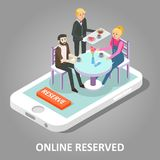 Online reserved table vector illustration. Online reserved restaurant table concept. Vector isometric illustration of smartphone with couple sitting at Stock Photo
