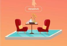 Online-reserverad tabell i kafé Begrepp som reserveras i restaurang Tabell på ett ben med 2 mjuka bekväma röda fåtöljer med disk royaltyfri illustrationer